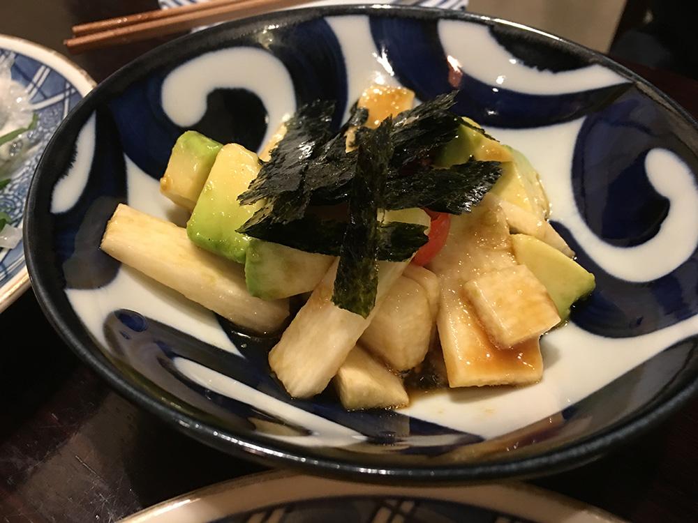 2月26日(日)長芋とアボカドのわさび醤油和え