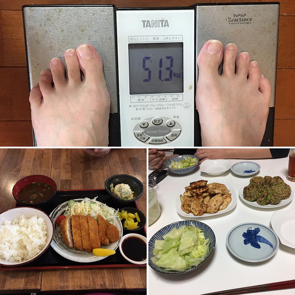 9月25日(月)今朝の体重と昨日のご飯写真