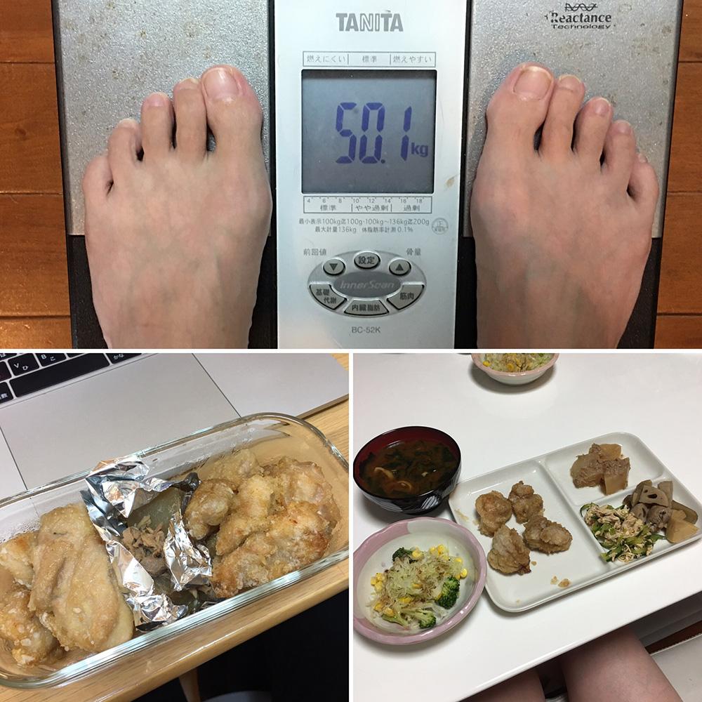 10月3日(火)今朝の体重と昨日のご飯写真