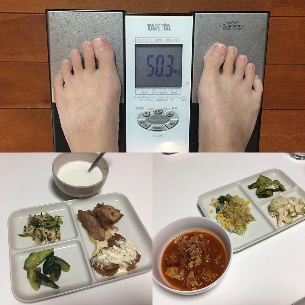 10月4日(水)今朝の体重と昨日のご飯写真