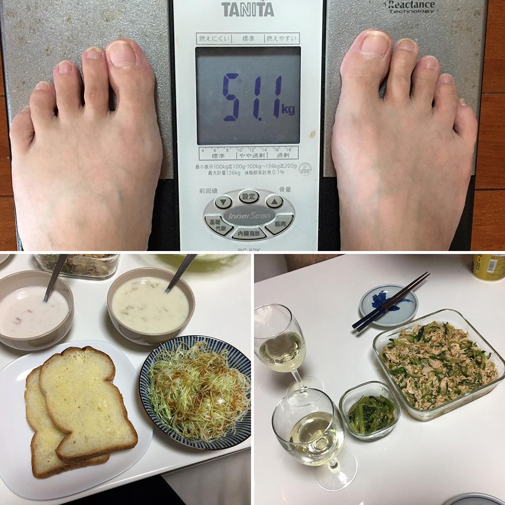 10月10日(火)今朝の体重と昨日のご飯写真
