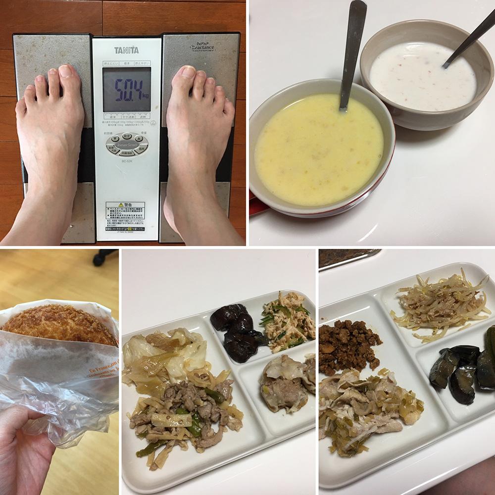10月11日(水)今朝の体重と昨日のご飯写真