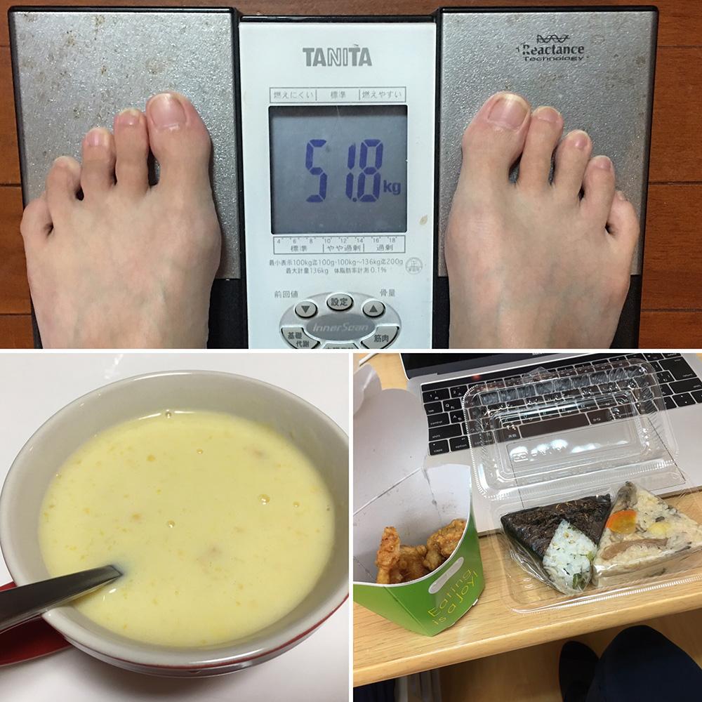 10月15日(日)今朝の体重と昨日のご飯写真