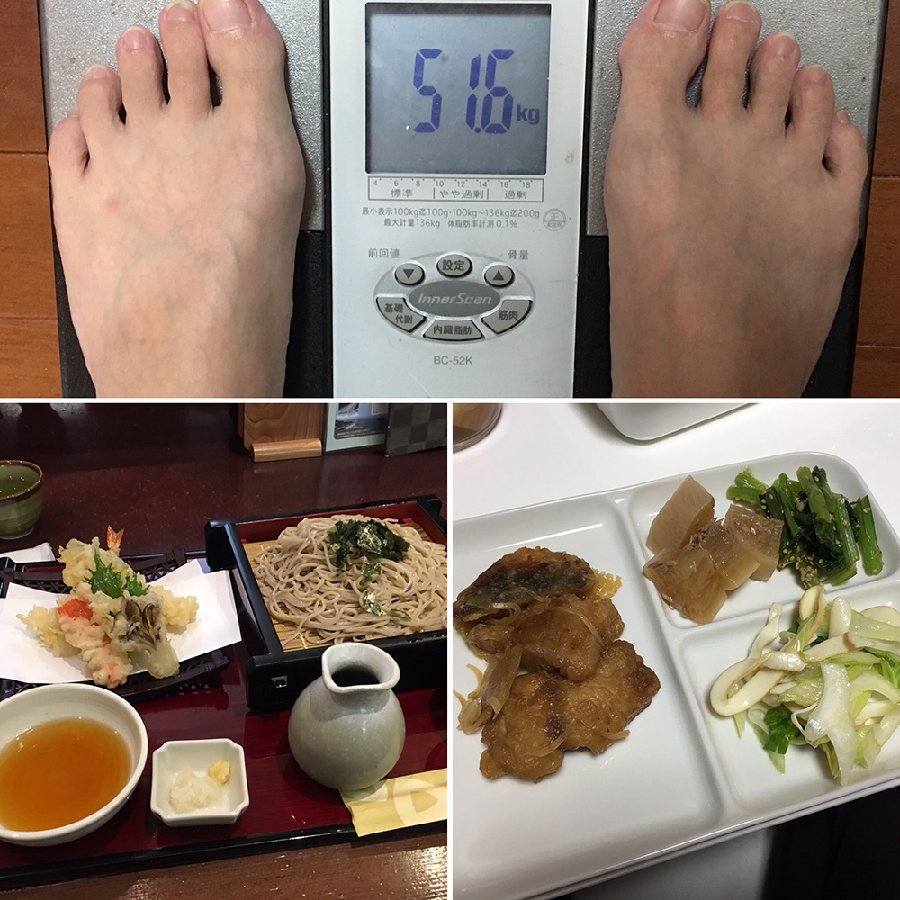 10月18日(水)今朝の体重と昨日のご飯写真