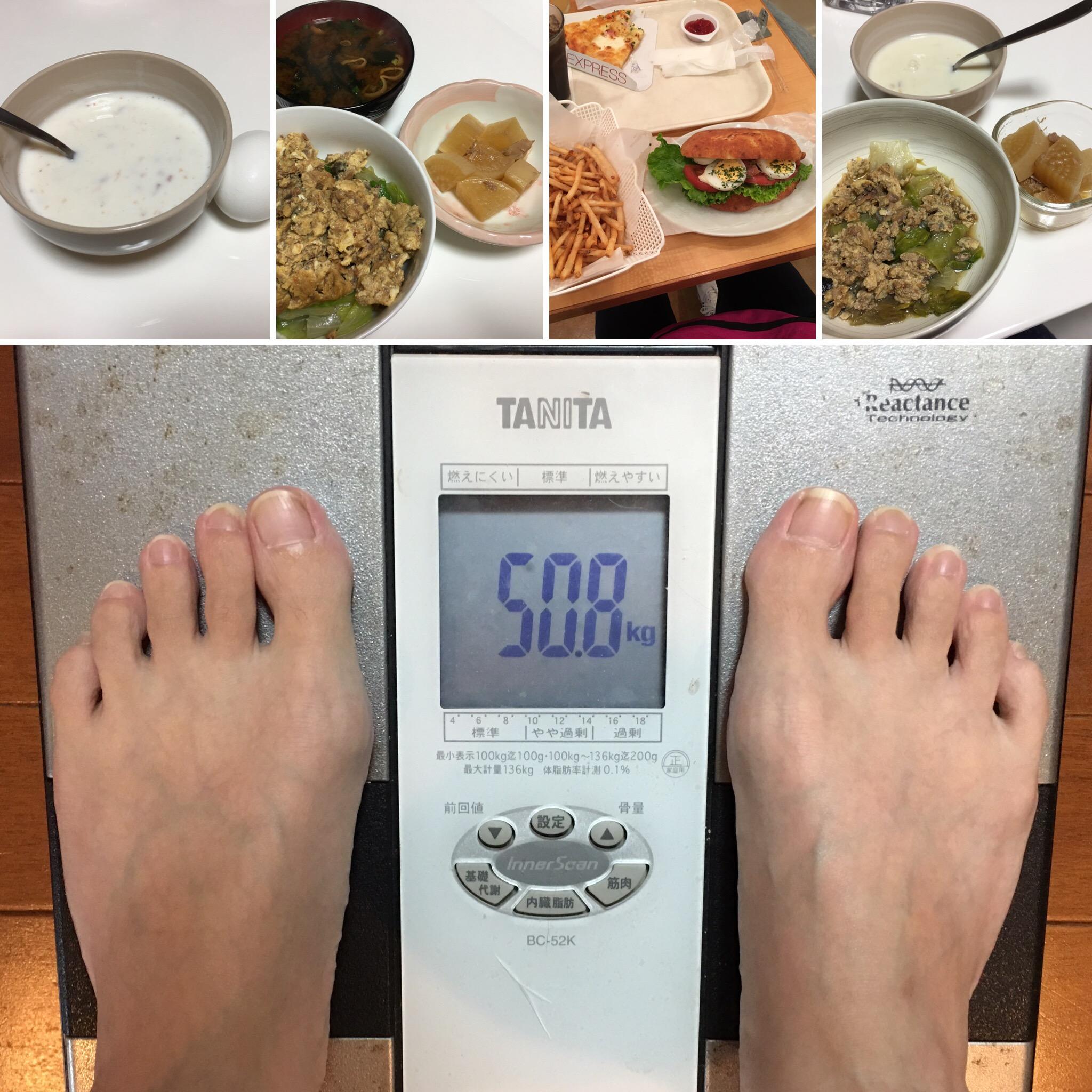 10月17日(火)今朝の体重と昨日のご飯写真