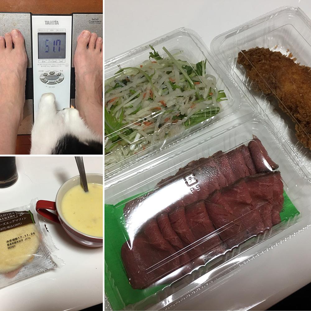 平成29年11月26日(日)今朝の体重と昨日のご飯