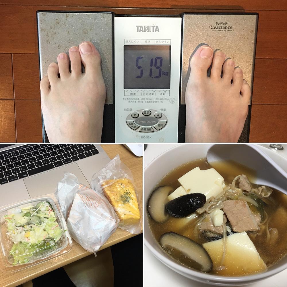 平成29年11月28日(火)今朝の体重と昨日のご飯