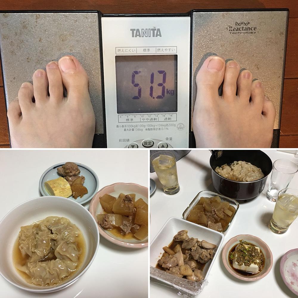 平成29年12月6日(水)今朝の体重と昨日のご飯