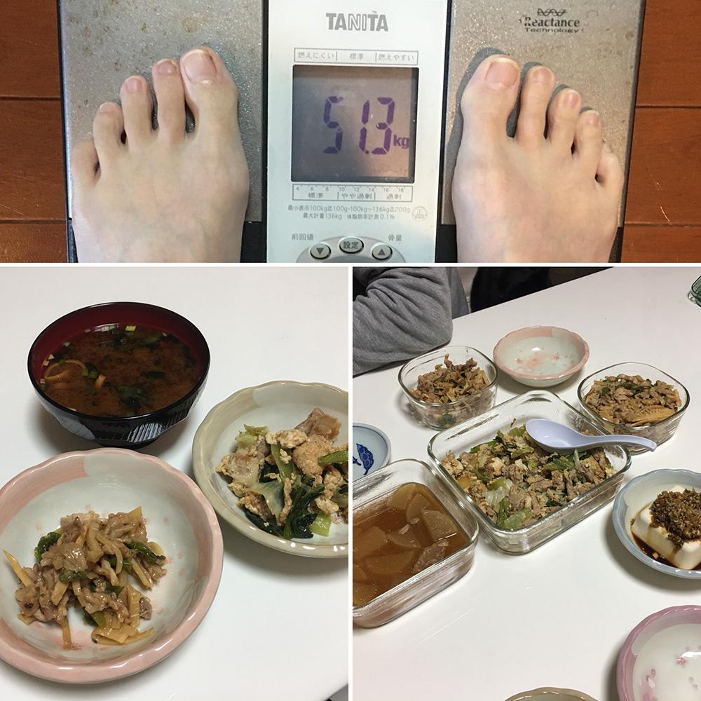 平成29年12月7日(木)今朝の体重と昨日のご飯
