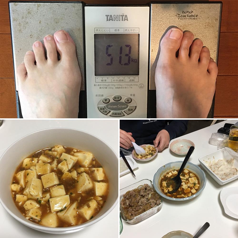 平成29年12月20日(水)今朝の体重と昨日のご飯