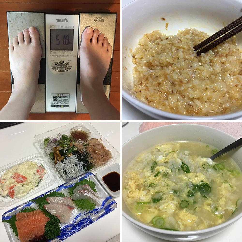 平成30年1月14日(日)今朝の体重と昨日のご飯