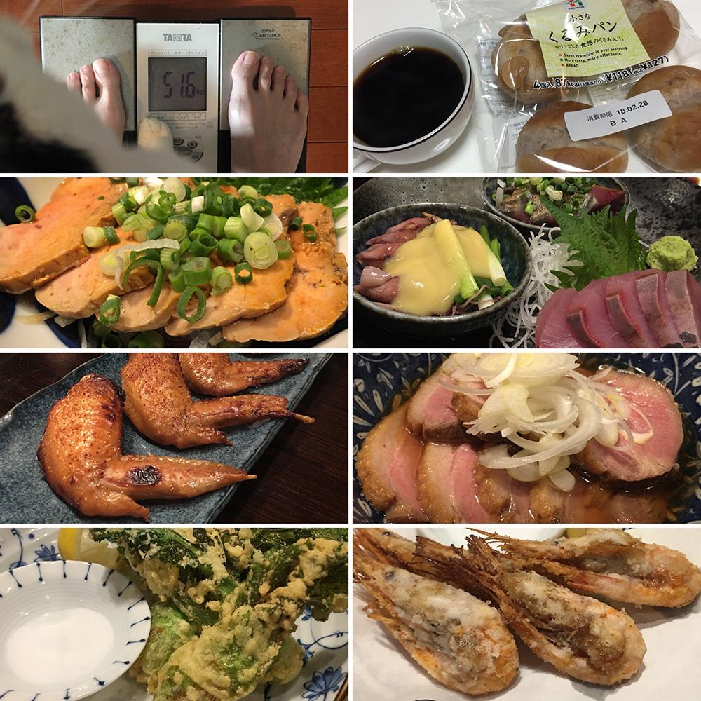 平成30年2月26日(月)今朝の体重と昨日のご飯